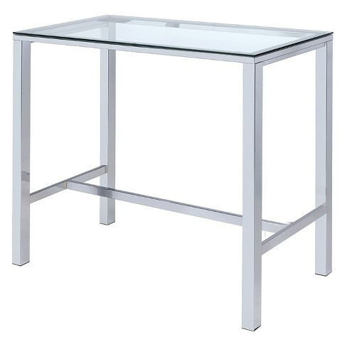 Tempered Glass Bar Table Chrome - Private Reserves - image 1 of 4