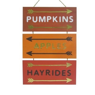 Harvest Pumpkins, Apple, Hayrides Hanging Wood Sign