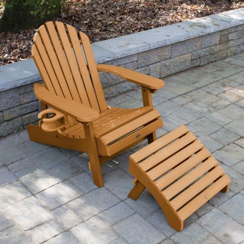 Hamilton Folding Reclining Adirondack Chair With Ottoman Easy Add Cup Holder Highwood
