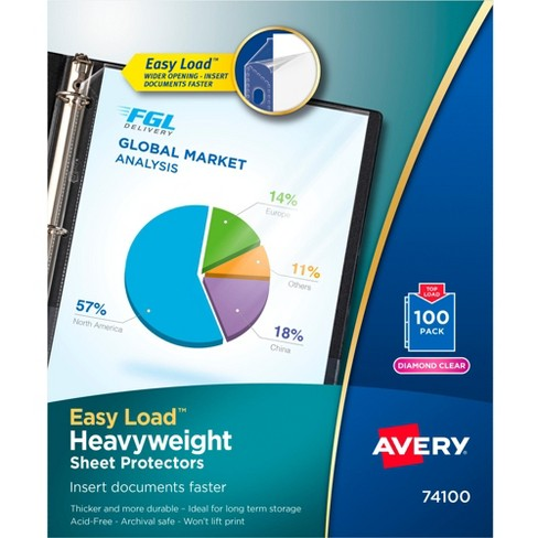 Avery Heavyweight Top Loading Sheet Protectors, 8-1/2 x 11 Inches, Diamond Clear, Box of 100 - image 1 of 1