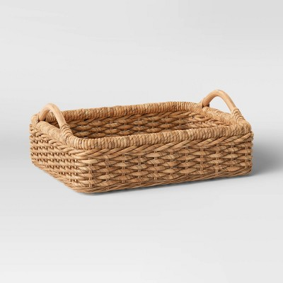 "14"" x 18"" Banana Woven Rectangular Tray Brown - Threshold™"