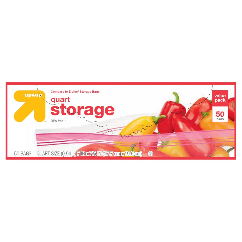 Quart Storage Bags - 50ct - Up&Up , Clear