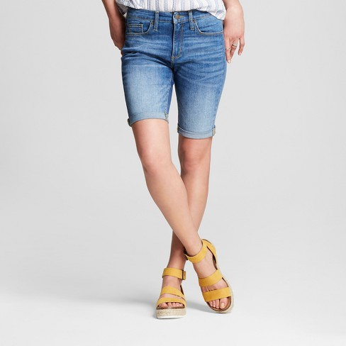 1105f8df3be Women s High-Rise Roll Cuff Bermuda Jean Shorts - Universal Thread™ Medium  Wash