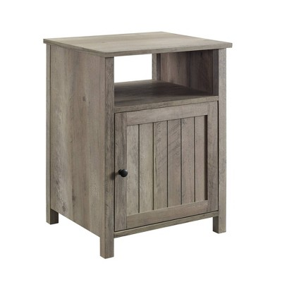 Grooved Door Side Table Gray Wash - Saracina Home