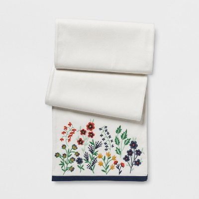 White Floral Table Runner (14 x108 )- Threshold™