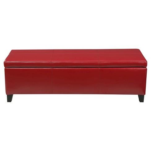 Strange Lucinda Faux Leather Storage Ottoman Bench Red Christopher Knight Home Machost Co Dining Chair Design Ideas Machostcouk