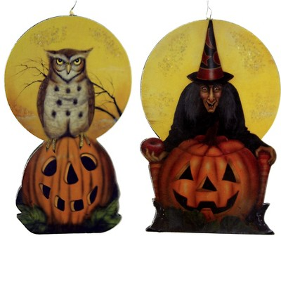 """Holiday Ornament 4.5"""" Witch/Owl Dummy Board Halloween  -  Tree Ornaments"""