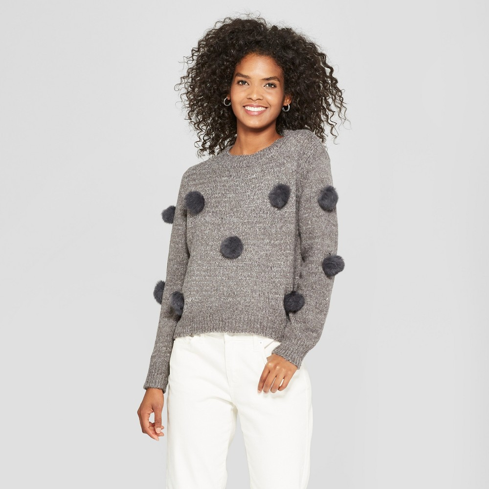 Women's Long Sleeve Faux Fur Detail Crew Neck Cropped Sweater - Cliche Gray XL