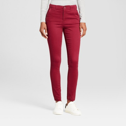 bdcfaec1e4ee Women's Skinny Ankle Length Chino Pants - A New Day™ Maroon 18 : Target