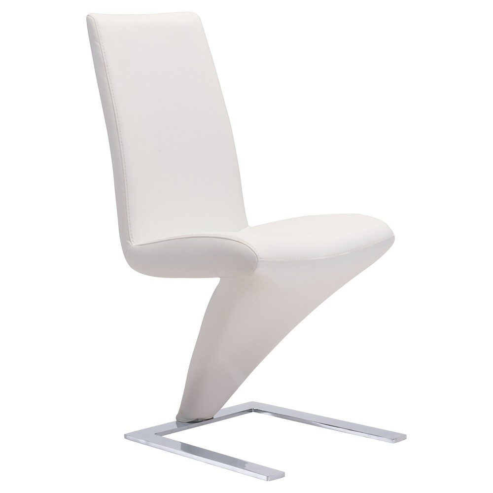 Modern Stainless Steel Cantilever Design Dining Chair (Set of 2) - White - ZM Home