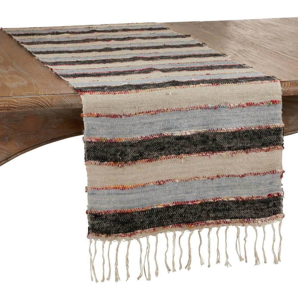 72 34 X 16 34 Cotton Wide Stripe Table Runner Black Saro Lifestyle