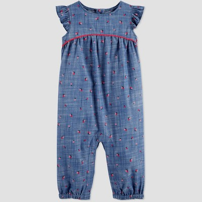 Baby Girls' Floral Chambray Jumpsuit - Just One You® made by carter's Blue 3M