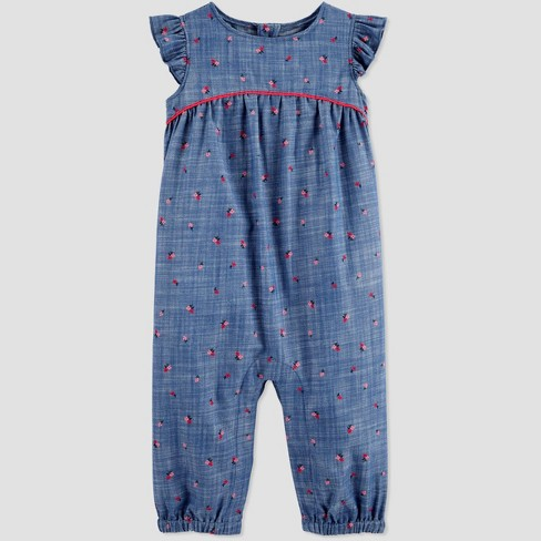 Carters Baby Boys Printed Chambray Romper Newborn