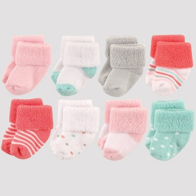 Luvable Friends Baby Girls' 8pk Socks, Dots - Coral 0-6M
