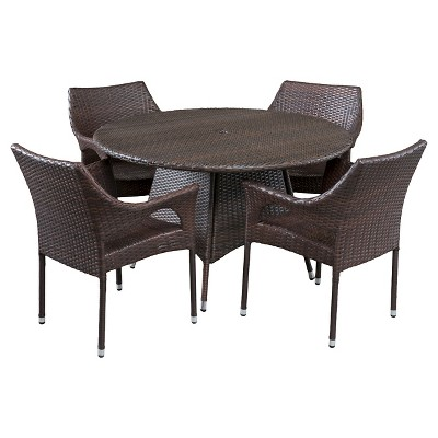 Armstrong 5pc Wicker Patio Dining Set - Multibrown - Christopher Knight Home