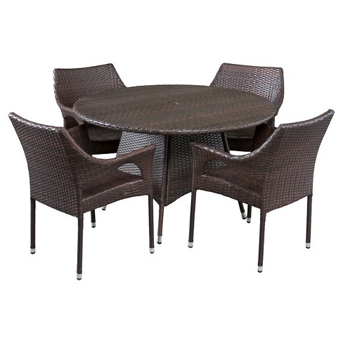 Armstrong 5pc Wicker Patio Dining Set - Multibrown - Christopher Knight Home - image 1 of 4