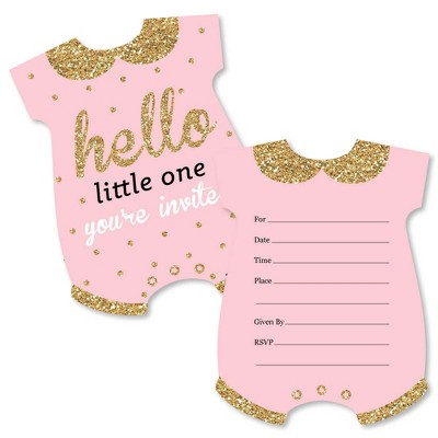 Big Dot of Happiness Hello Little One - Pink and Gold - Shaped Fill-in Invitations - Girl Baby Shower Invitation Cards with Envelopes - Set of 12