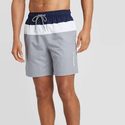 "Speedo Men's 8"" Colorblock Swim Shorts - Navy/White/Gray"