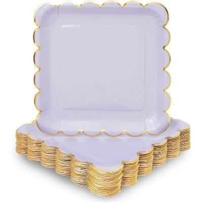 Sparkle and Bash 48 Pack Pastel Purple Square Disposable Paper Plates, Gold Foil Scalloped Edge 9 In