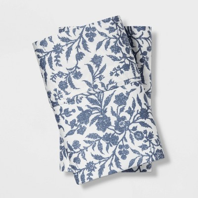 Performance Pillowcases King Blue Floral 400 Thread Count - Threshold™