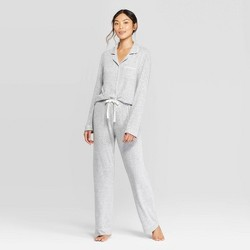Women's Perfectly Cozy Notch Collar Pajama Set - Stars Above™ Light Gray