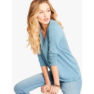 NIC+ZOE Womens Long Sleeve V Neck Pullover Sweater - Blue X Small