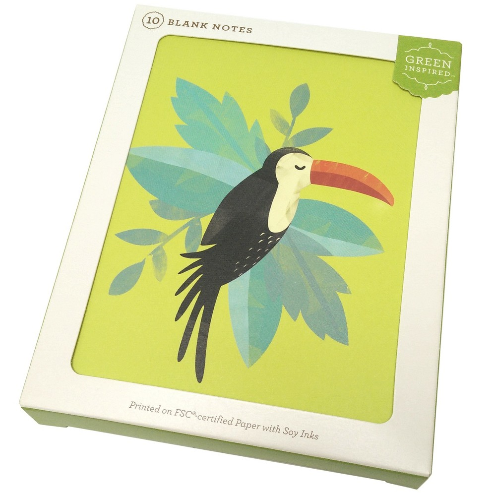 10ct Tropical Toucan Blank Notes - Green Inspired, Multi-Colored