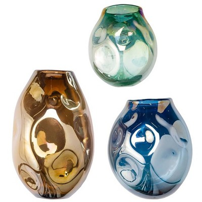 VivaTerra Organic-Shaped Glass Dented Wall Vases, Set of 3