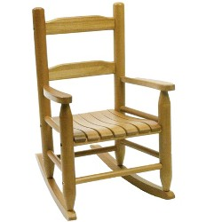Lipper Child's Eco Friendly Rubberwood Wooden Rocking Chair, Natural Finish