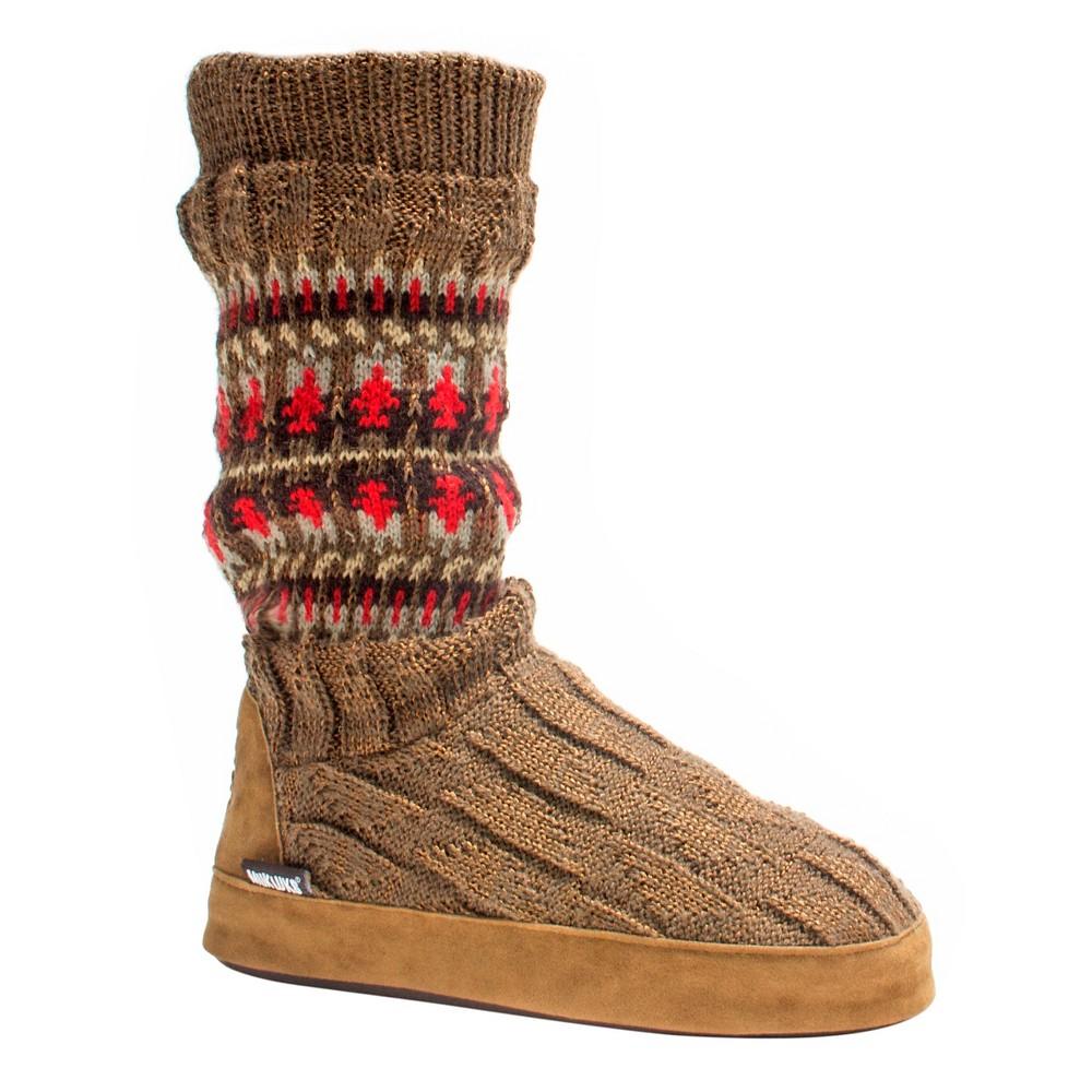 Women's Muk Luks Vanessa Slipper Boots - Bark (Brown) L(8-9), Size: L (8-9)