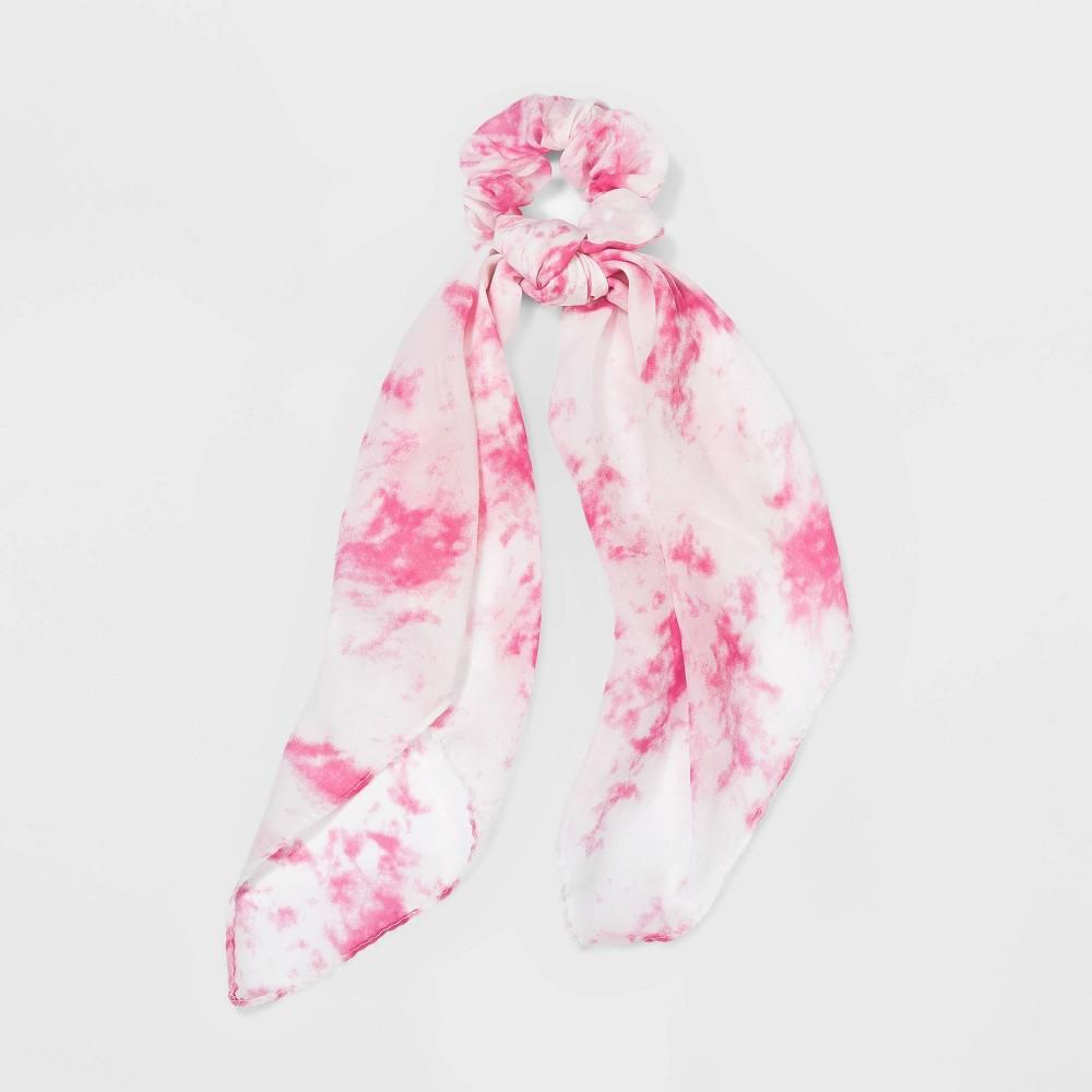 Vintage Hair Accessories: Combs, Headbands, Flowers, Scarf, Wigs Chiffon Tie Dye Twisters Hair Elastics - Wild Fable PinkWhite $8.00 AT vintagedancer.com