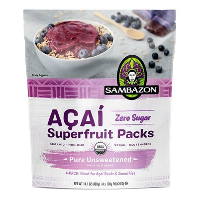 Sambazon Aa Pure Unsweetened Superfruit Frozen Smoothie Packs - 400g