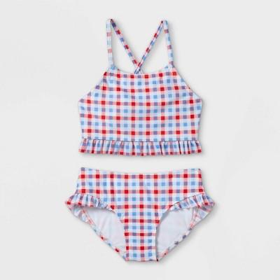 Girls' High Neck Gingham 2pc Bikini set - Cat & Jack™ Red