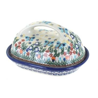Blue Rose Polish Pottery Garden of Eden Butter Dish