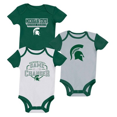 NCAA Michigan State Spartans Baby Short Sleeve 3pk Bodysuit Set - 3-6M