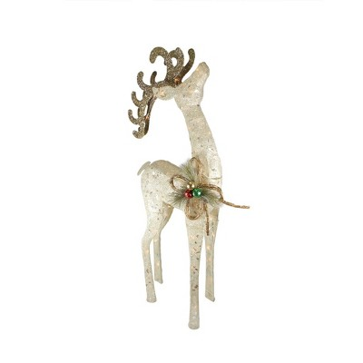 "Northlight 46"" Pre-Lit Brown and Ivory Reindeer Outdoor Christmas Decor"