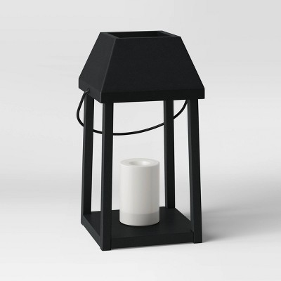 """13"""" Small Metal Outdoor Lantern with Black Hood and LED Candle Black - Threshold™"""