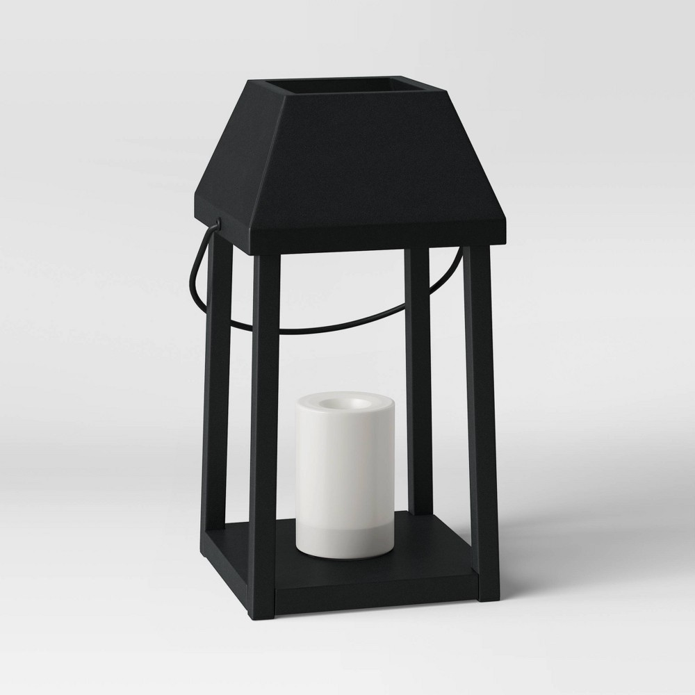 "Image of ""13"""" Small Metal Outdoor Lantern with Black Hood and LED Candle Black - Threshold"""