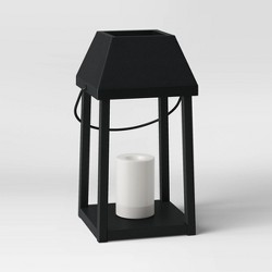 Metal Outdoor Lantern with Black Hood and Candle Black - Threshold™