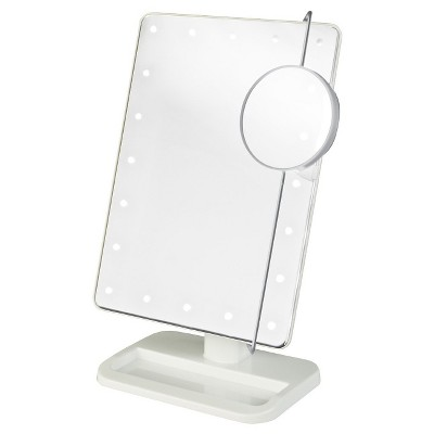 Jerdon LED Lighted Makeup Mirror White Includes 10X Adjustable Spot Mirror White