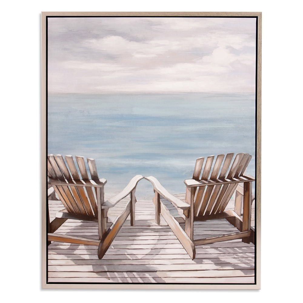 "Image of ""30""""x38"""" Adirondack Chairs Coastal Framed Canvas Art Silver - Patton Wall Decor"""