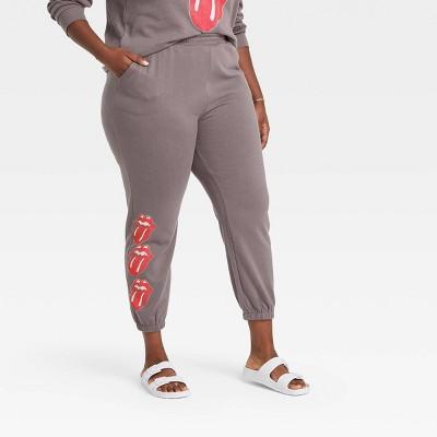 Women's Rolling Stones Logo Graphic Jogger Pants - Heather Gray