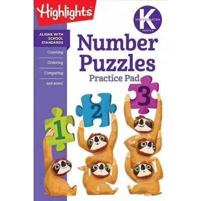 Kindergarten Number Puzzles -  (Highlights Learn on the Go Practice Pads) (Paperback)