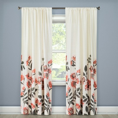 "84""x54"" Climbing Floral Window Curtain Panel Coral - Threshold™"