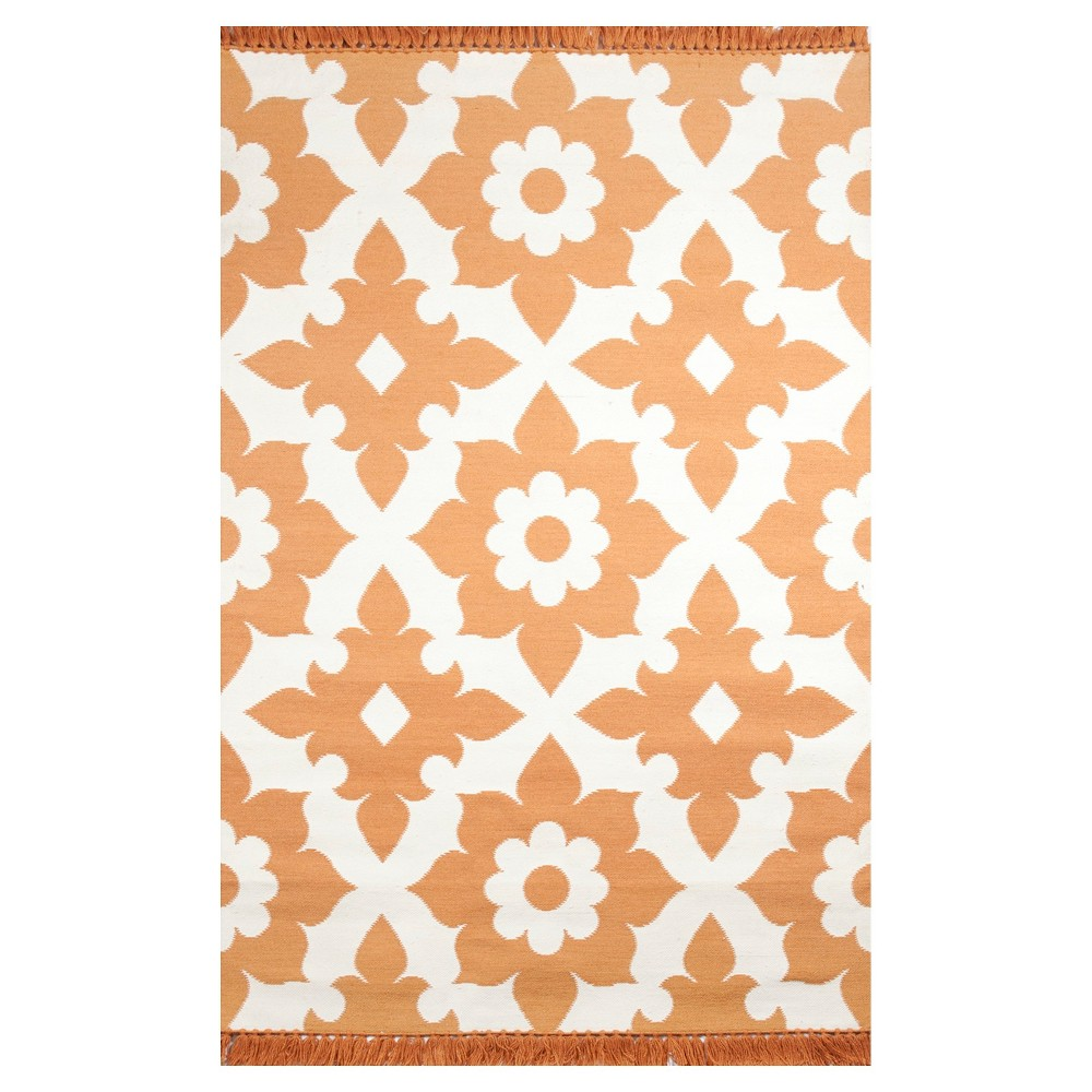 Tuft & Loom Indoor/Outdoor Floral Area Rug - Marigold/Cream (8'x10'), Orange Sorbet