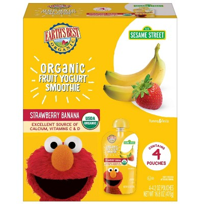 Earth's Best Organic 4pk Sesame Street Strawberry Banana Fruit Yogurt Smoothie - 16.8oz