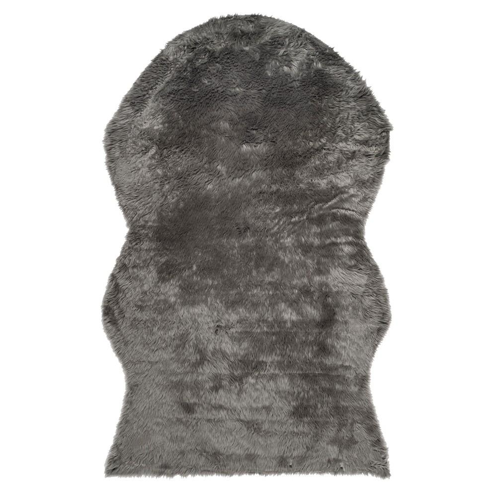 Gray Solid Shag/Flokati Loomed Area Rug 5'X7' - Safavieh