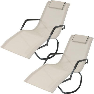Set of 2 Rocking Chaise Lounge Chairs with Headrest Pillow - Beige - Sunnydaze Decor