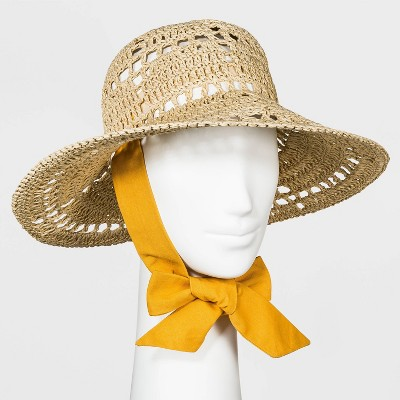 Women's Woven Cane Straw Bucket Hat with Ties - Universal Thread™ Natural One Size