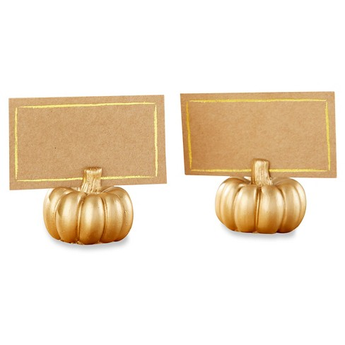 12ct Kate Aspen Gold Pumpkin Place Card Holder - image 1 of 2